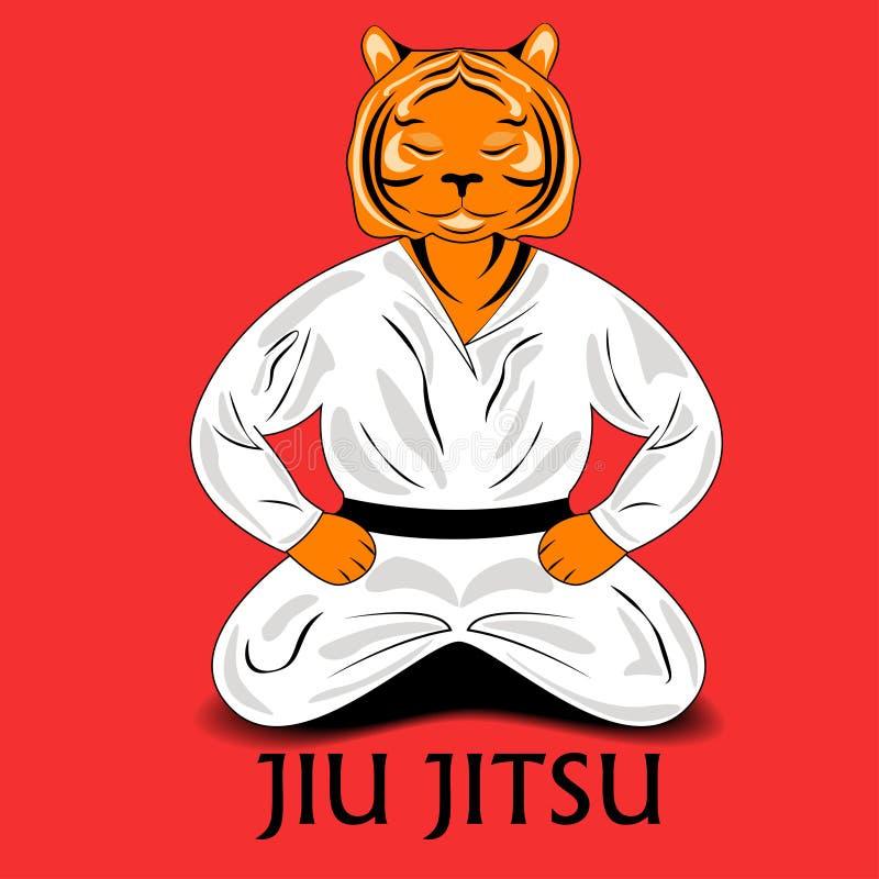 Tigre en un kimono ilustración del vector