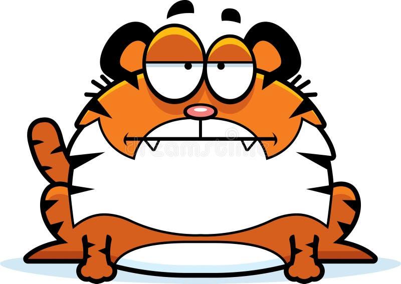 Tigre ennuyé de bande dessinée illustration libre de droits
