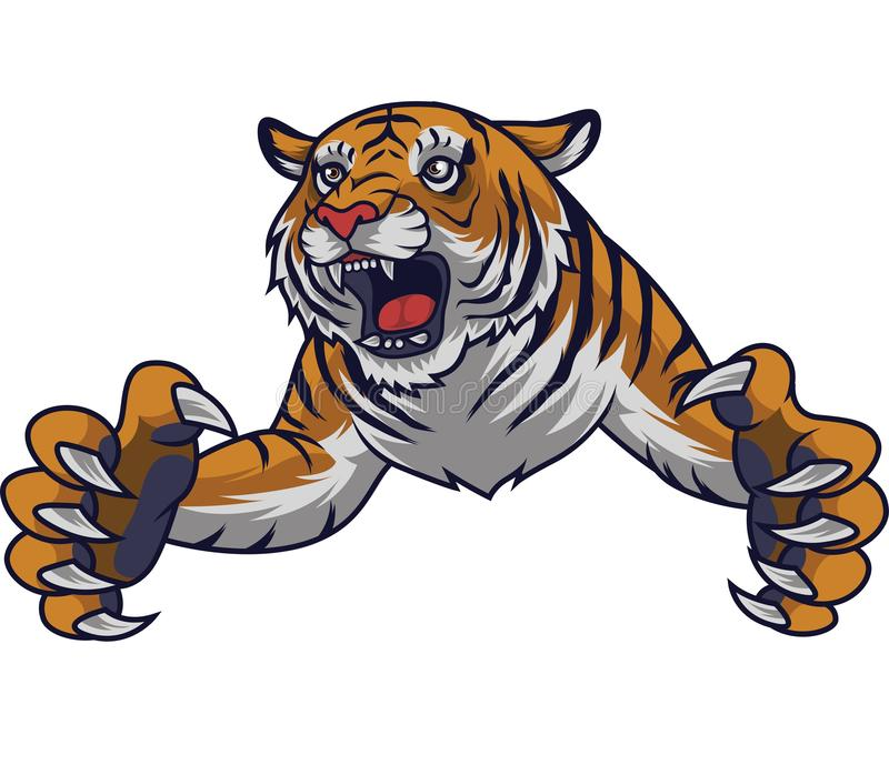 Tigre enojado del salto ilustración del vector