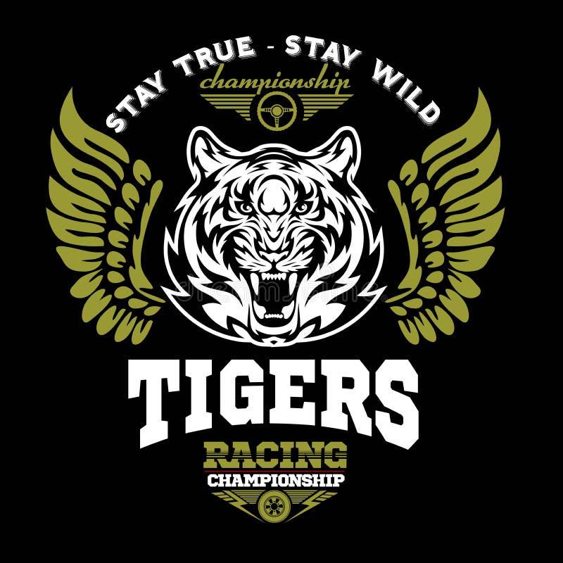 Tigre et ailes - conception graphique de logo logo, autocollant, label, bras, sport automobile illustration libre de droits