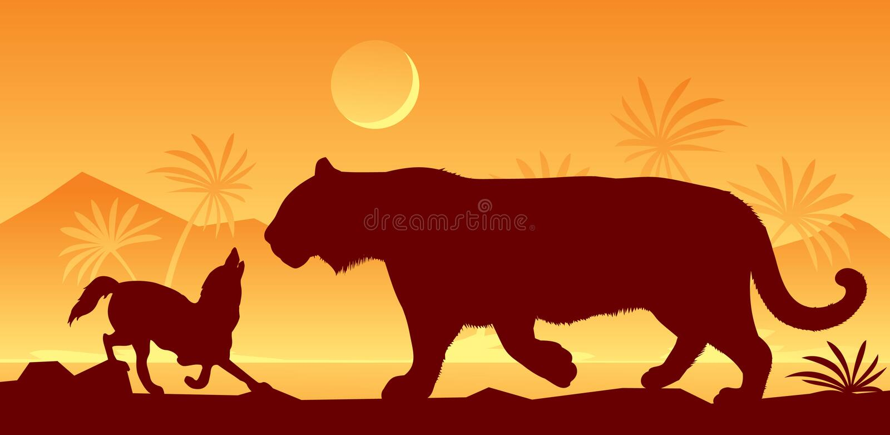 Tigre et chacal de livre de Kipling illustration de vecteur