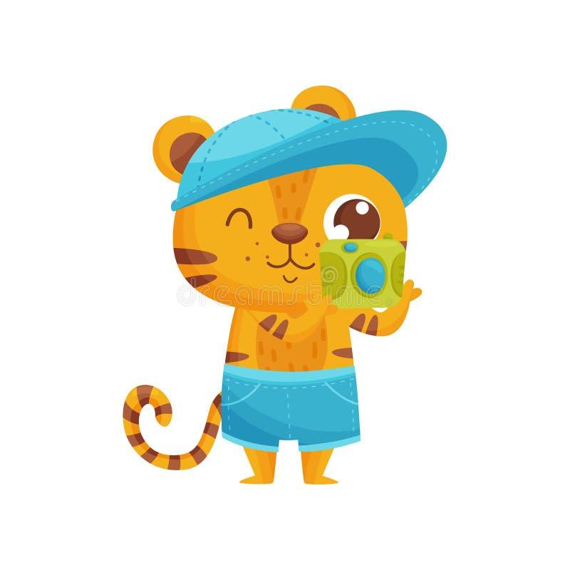 Tigre feliz con la cámara en el fondo blanco libre illustration