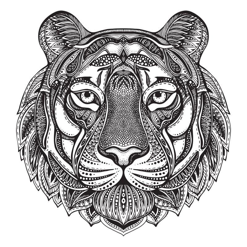 Tigre fleuri graphique tiré par la main illustration de vecteur
