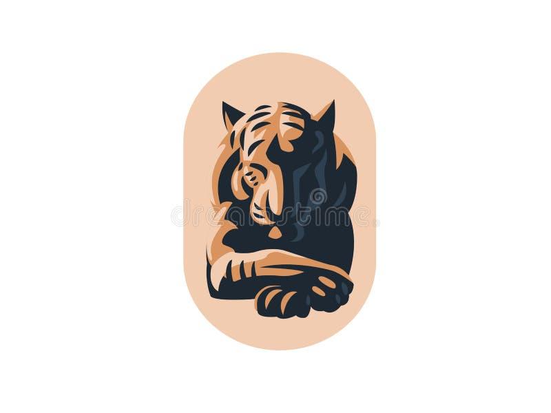 Tigre grande com olhos fechados ilustração royalty free