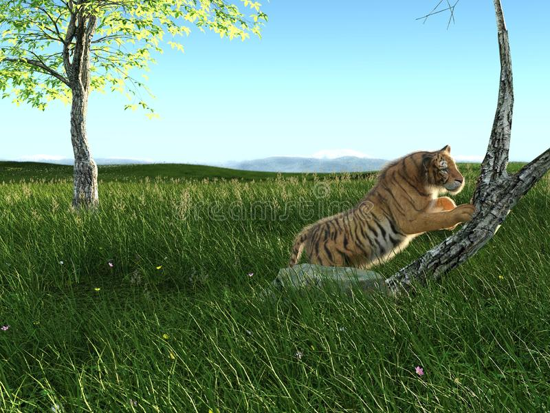 tigre grande da rendição 3d na caça ilustração stock