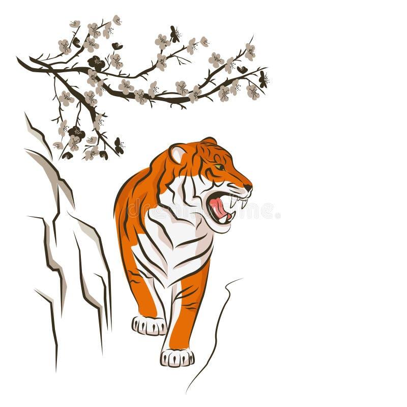 Tigre irritado e árvore de ameixa chinesa ilustração royalty free