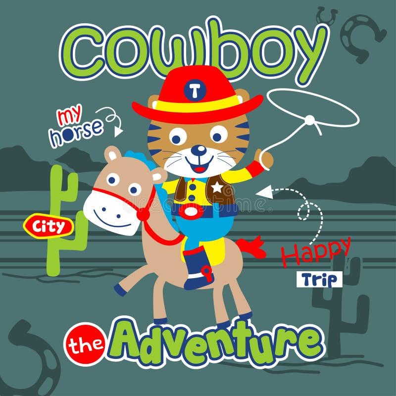 Tigre la bande dessinée animale drôle de cowboy, illustration de vecteur illustration stock