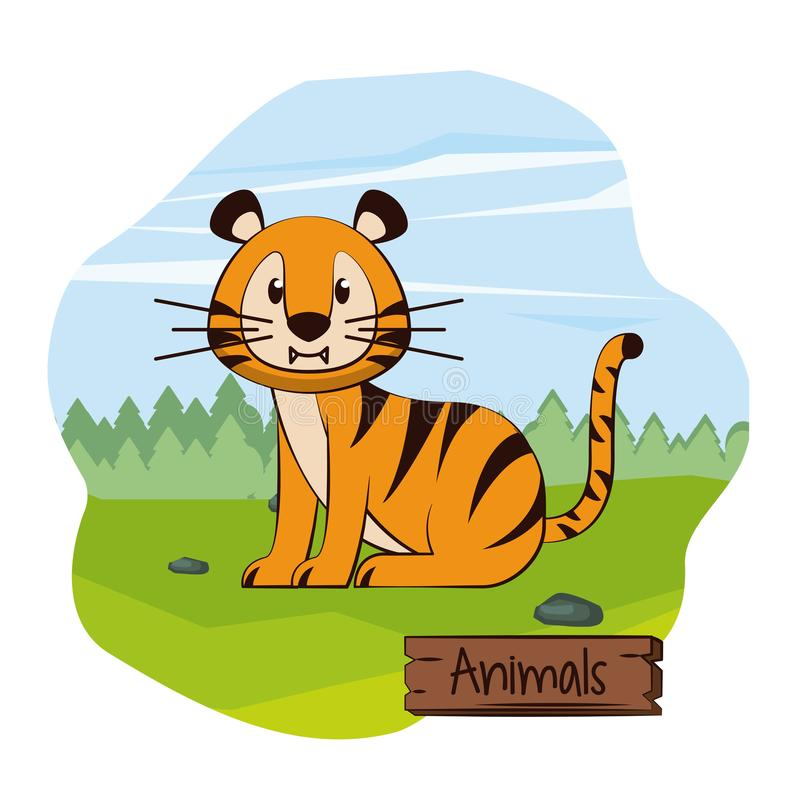 Tigre lindo en historieta del bosque libre illustration
