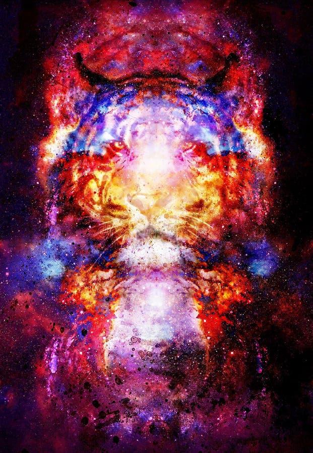 Tigre magique de l'espace, collage multicolore d'infographie illustration stock