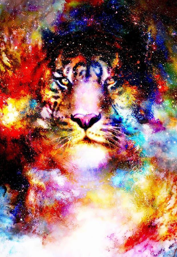 Tigre magique de l'espace, collage multicolore d'infographie illustration libre de droits