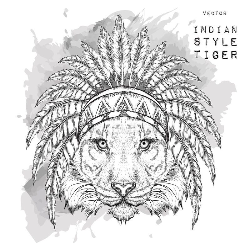 Tigre na barata indiana colorida Mantilha indiana da pena da águia Ilustração do vetor da tração da mão ilustração royalty free