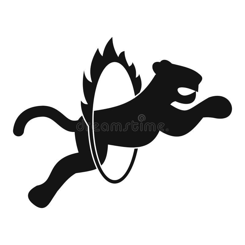 Tigre nell'illustrazione semplice del cerchio ardente illustrazione vettoriale