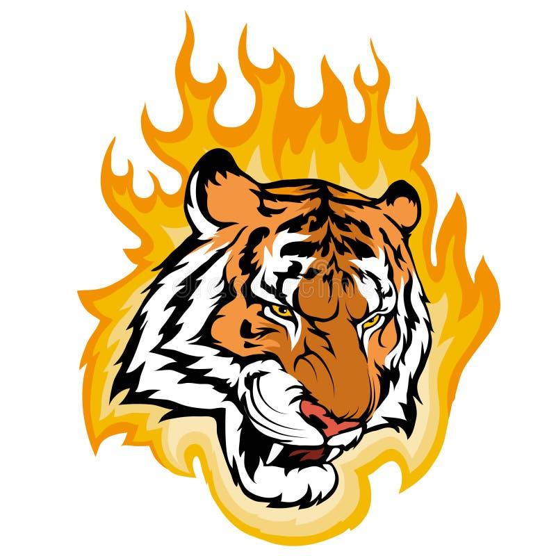 Tigre no fogo, gráfico de vetor ilustração do vetor