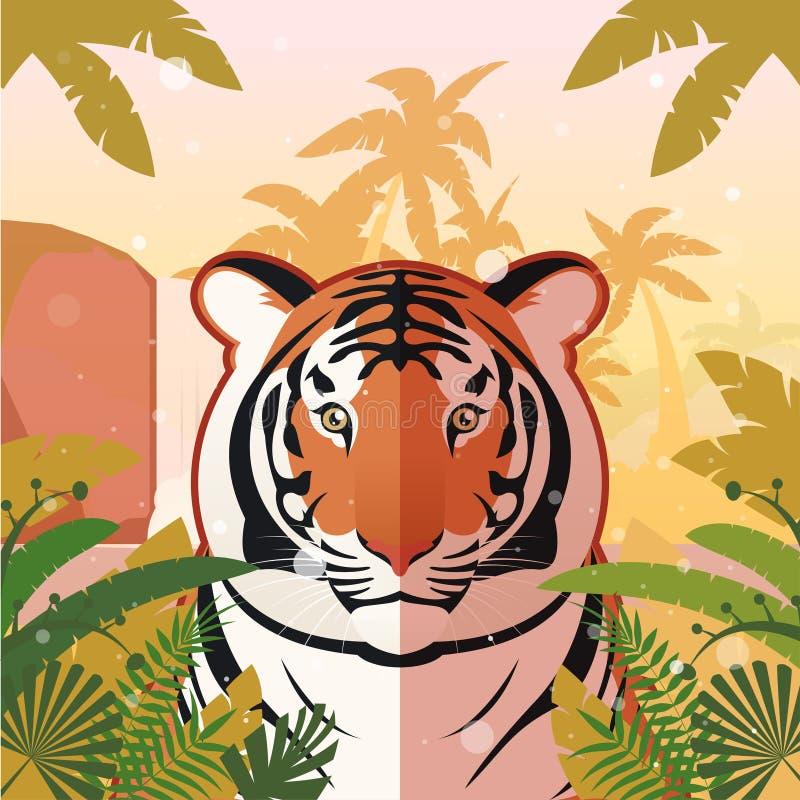 Tigre no fundo da selva ilustração royalty free