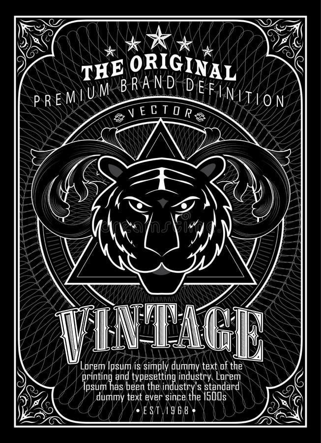 Tigre occidental de la antigüedad de la etiqueta de la frontera del marco del grabado del vintage stock de ilustración