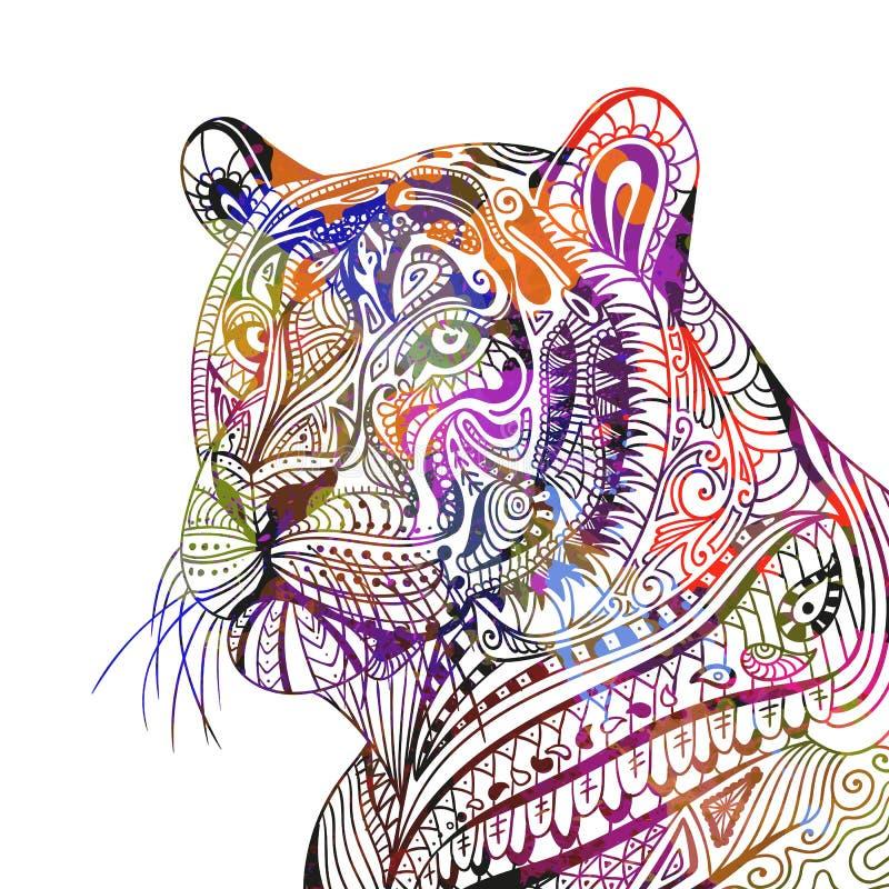 Tigre ornamental abstracto stock de ilustración