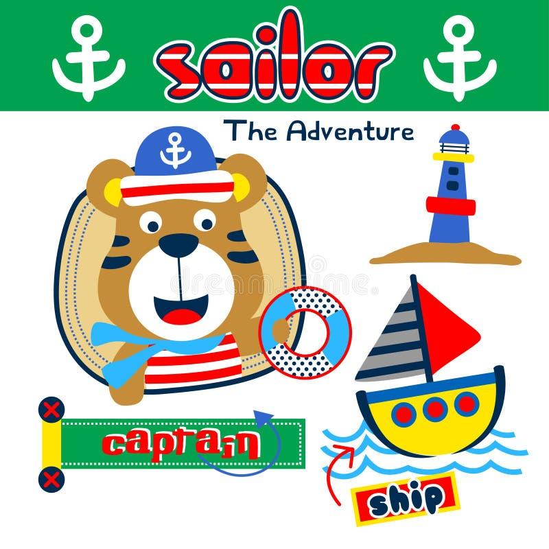 Tigre os desenhos animados engraçados do sailorman, ilustração do vetor ilustração royalty free