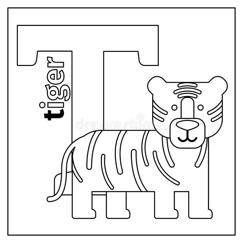 Tigre, Página Del Colorante De La Letra T Ilustración del Vector ...