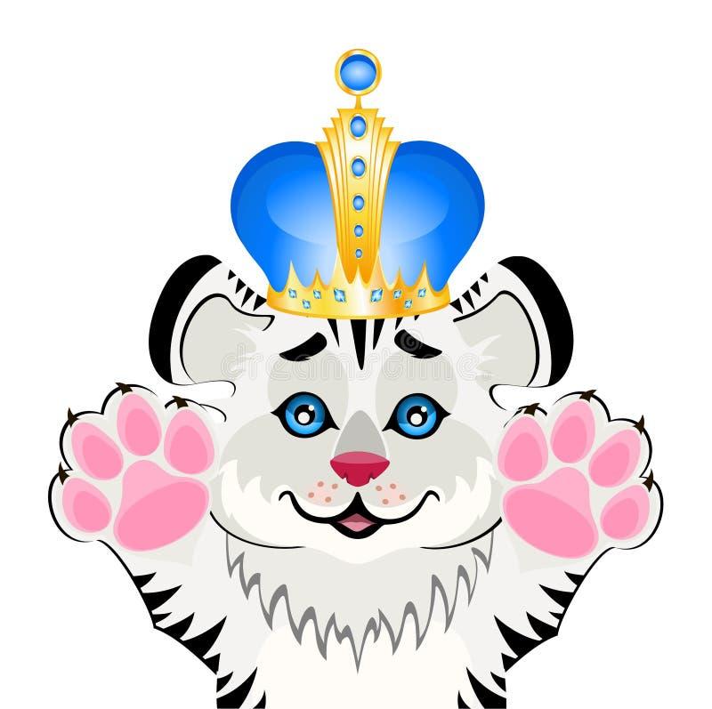 Tigre pequeno bonito em uma coroa ilustração do vetor
