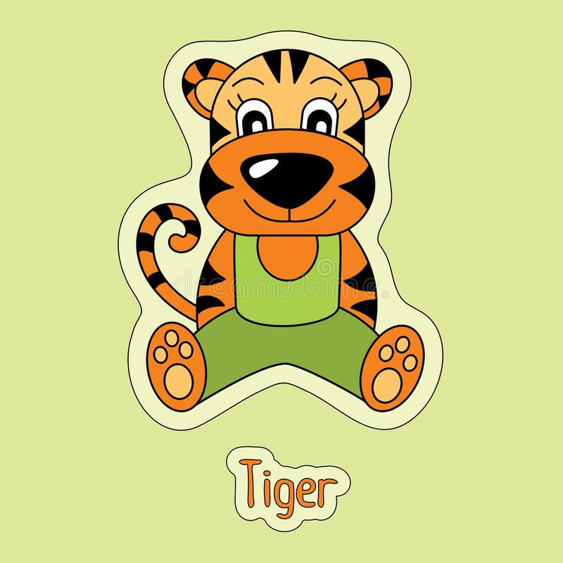 Tigre piacevole, autoadesivo del fumetto, animale divertente, disegno del ` s del bambino, carta illustrazione di stock