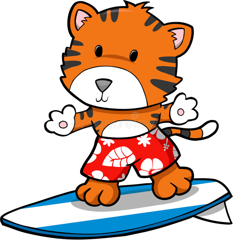 Tigre praticante il surfing royalty illustrazione gratis