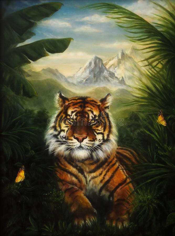 Tigre que descansa en la selva, pintura al óleo detallada hermosa encendido libre illustration