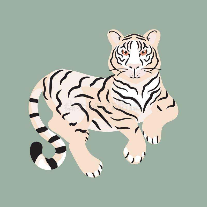 Tigre que miente en el vector aislado tierra libre illustration