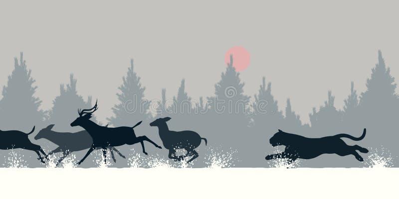 Tigre que persegue cervos ilustração do vetor