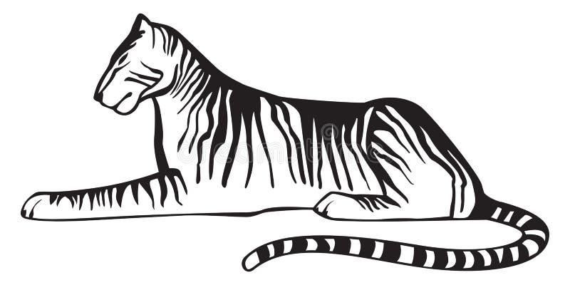 Tigre que se acuesta, blanco y negro en el fondo blanco, vector aislado Símbolo del emblema o del equipo ilustración del vector