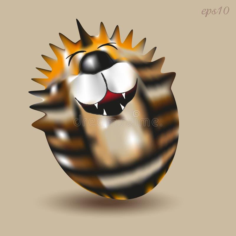 Tigre Roly Poly gai illustration de vecteur