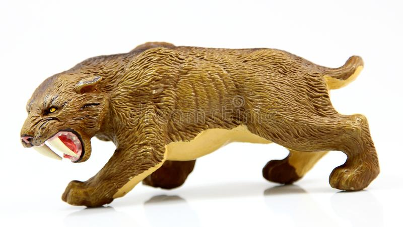 Tigre sabre-dentado do brinquedo imagens de stock