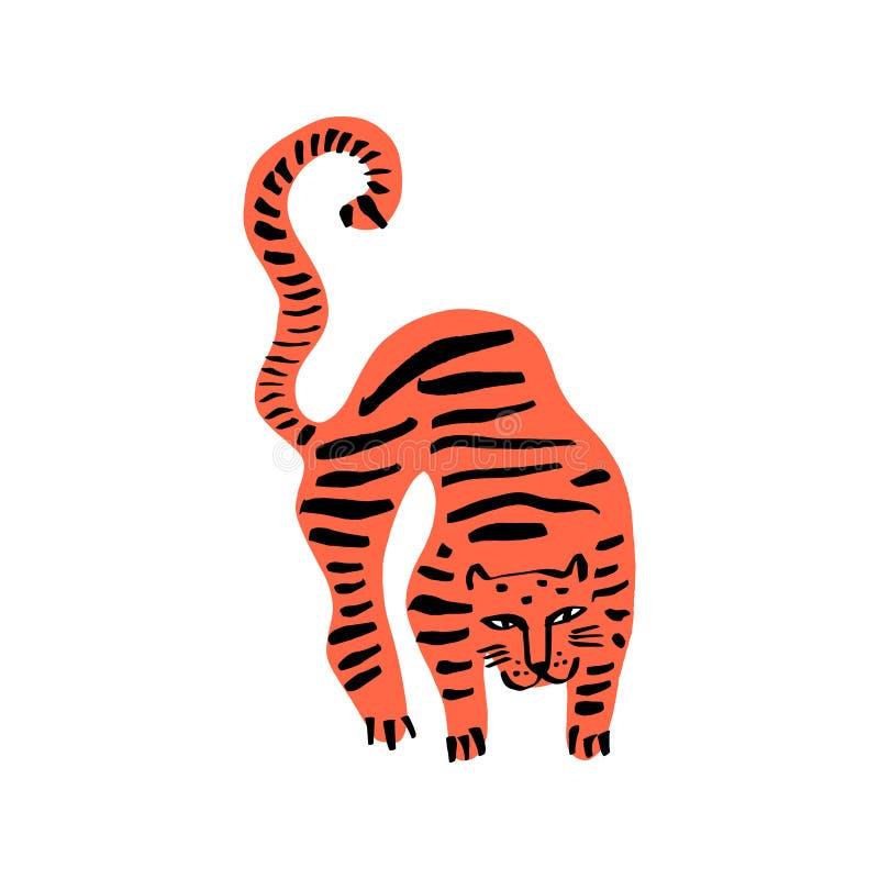 Tigre salvaje divertido del gato Los niños lindos imprimen para la camiseta Ilustraci?n del vector ilustración del vector