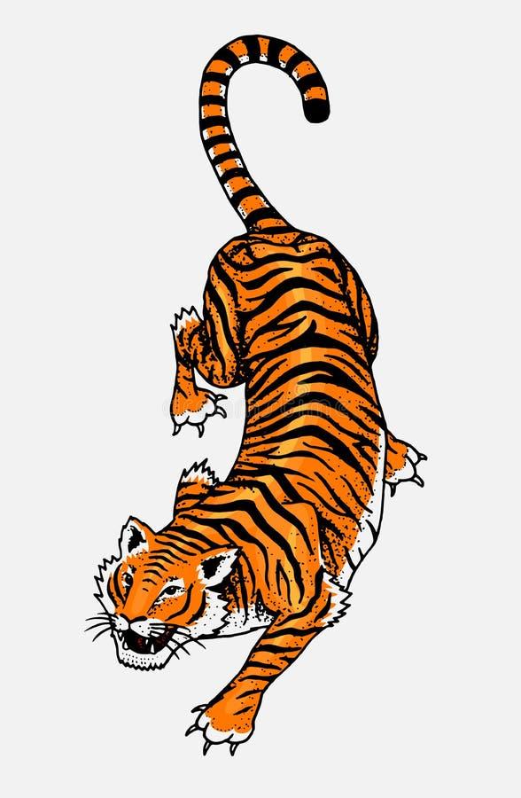 Tigre salvaje japonés Gato asiático Visión superior Remiendo de la moda Ilustraciones del tatuaje para las muchachas Mano grabada ilustración del vector