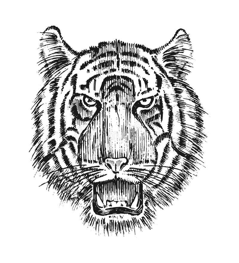 Tigre selvaggia giapponese Gatto animale asiatico profilo della testa o del fronte Materiale illustrativo del tatuaggio Inciso di royalty illustrazione gratis