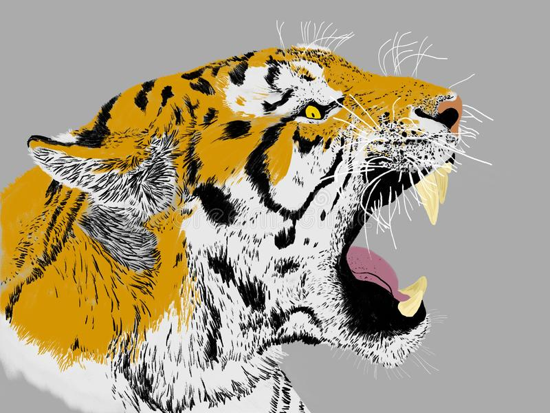 Tigre sib?rien de grognement illustration de vecteur