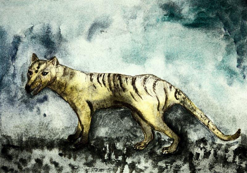 Tigre tasmaniano resistido ilustração royalty free