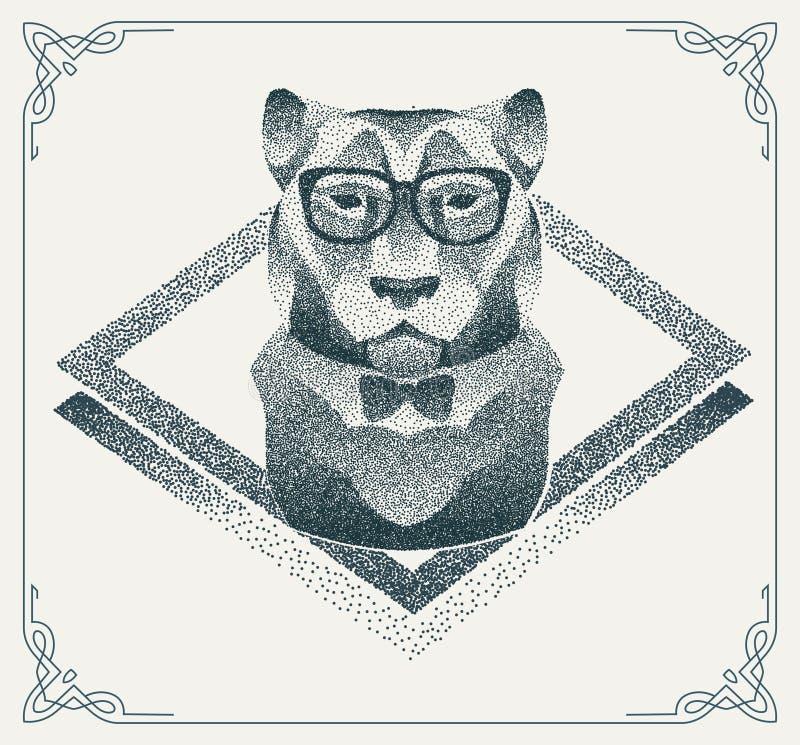 Tigre tramé de hippie avec les points noirs Vecteur illustration de vecteur