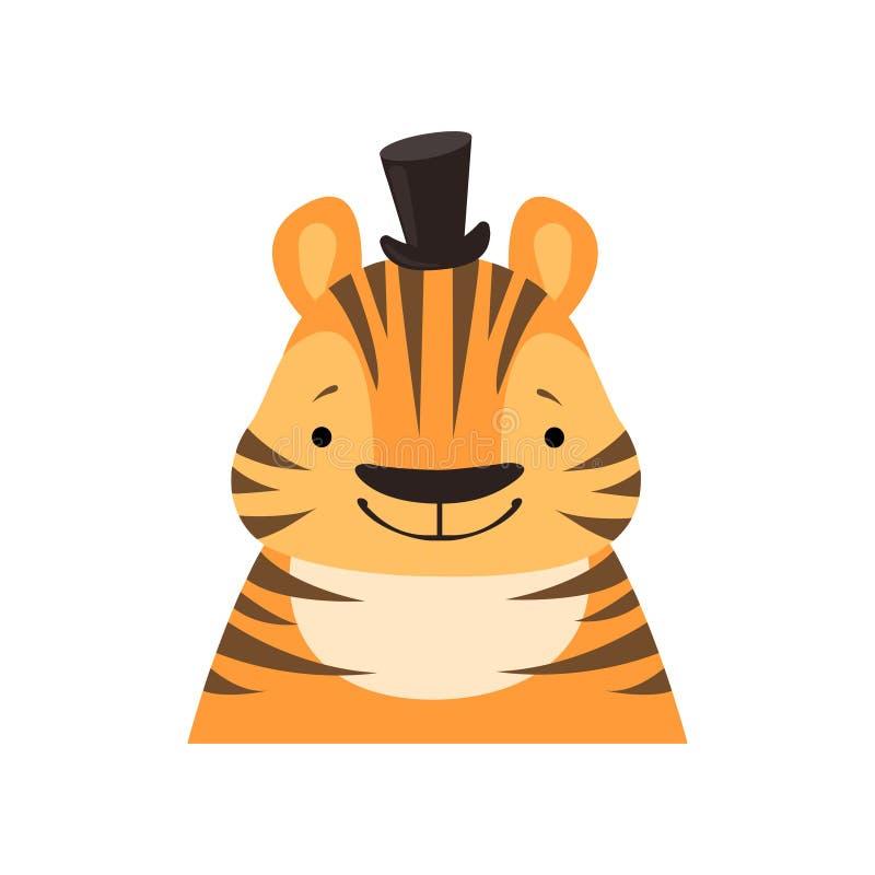 Tigre in un cilindro nero, fronte divertente, illustrazione animale di vettore dell'avatar del carattere del fumetto sveglio su u illustrazione vettoriale