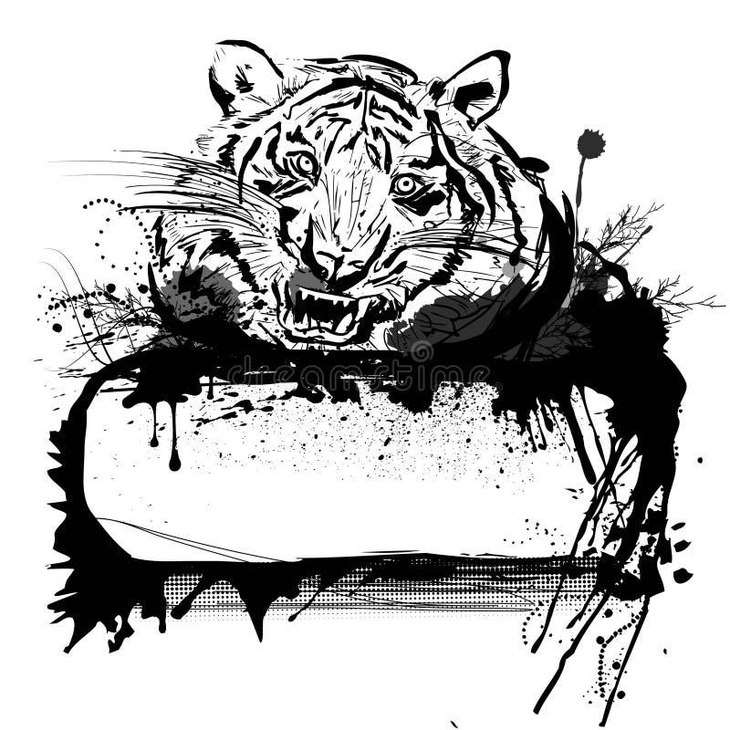 Tigre y marco stock de ilustración