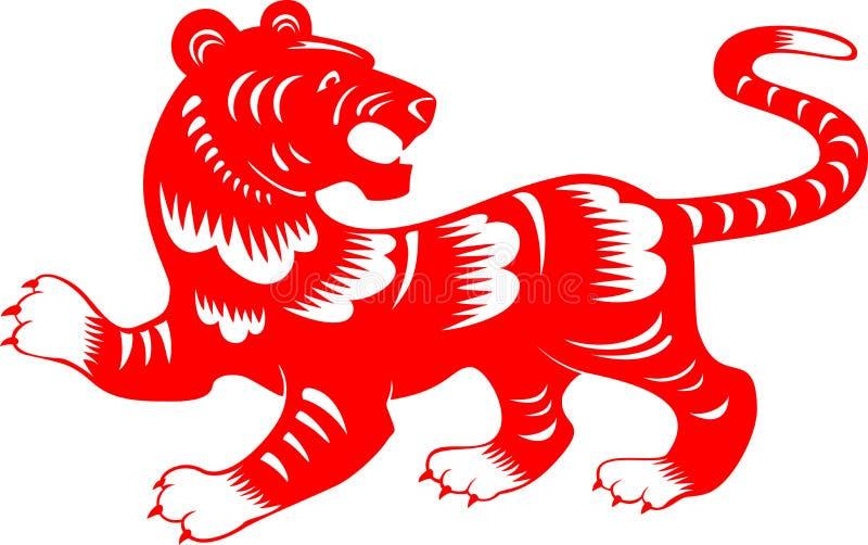 Tigre Zodiaco del corte del papel chino ilustración del vector