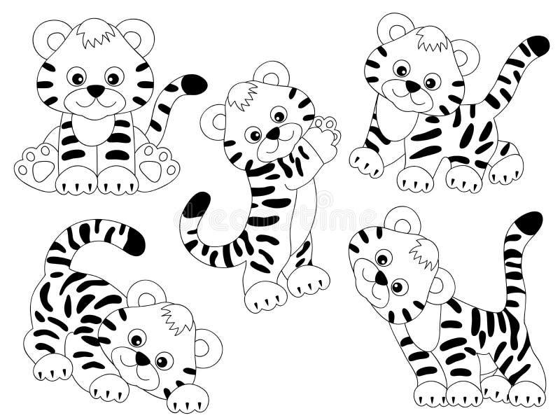 Tigres de vecteur réglés illustration de vecteur