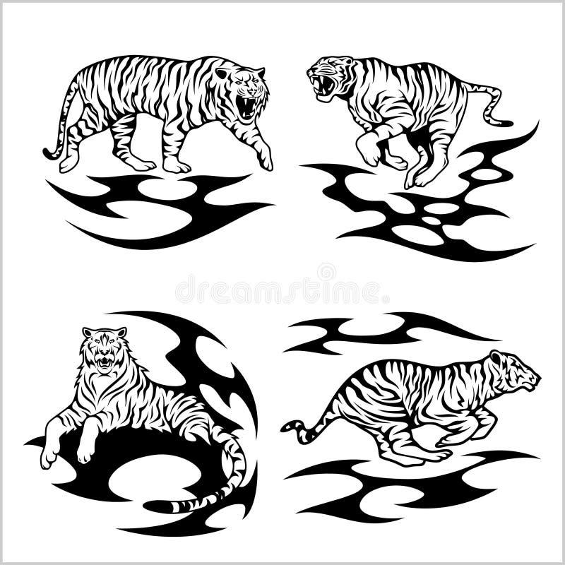 Tigres tribais - grupo do vetor ilustração stock