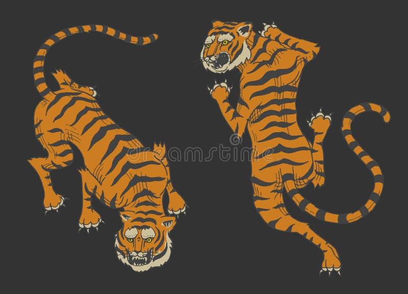 Tigri asiatiche nello stile giapponese d'annata per il logo Gatti degli animali selvatici Predatori dalla giungla Disegnato a man illustrazione vettoriale