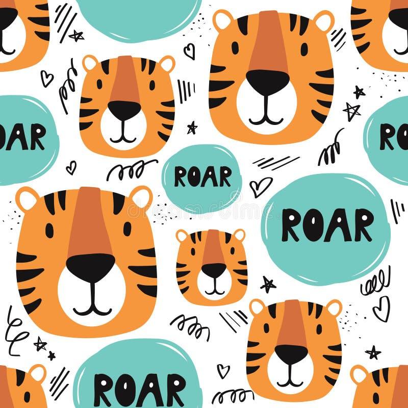 Tigri, modello senza cuciture variopinto royalty illustrazione gratis
