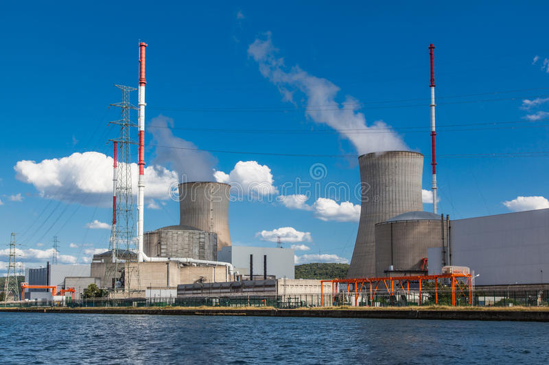Tihange Nuclear Power Station. At the Meuse River. Walloon province of Liège, Belgium royalty free stock images