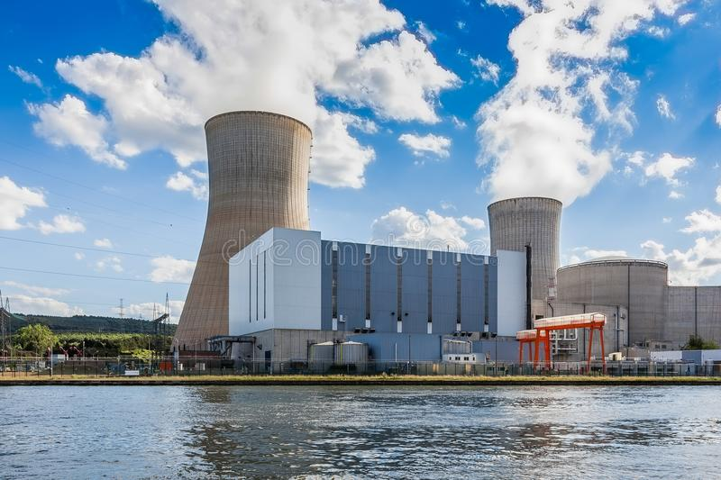 Tihange Nuclear Power Station. At the Meuse River. Walloon province of Liège, Belgium stock photos