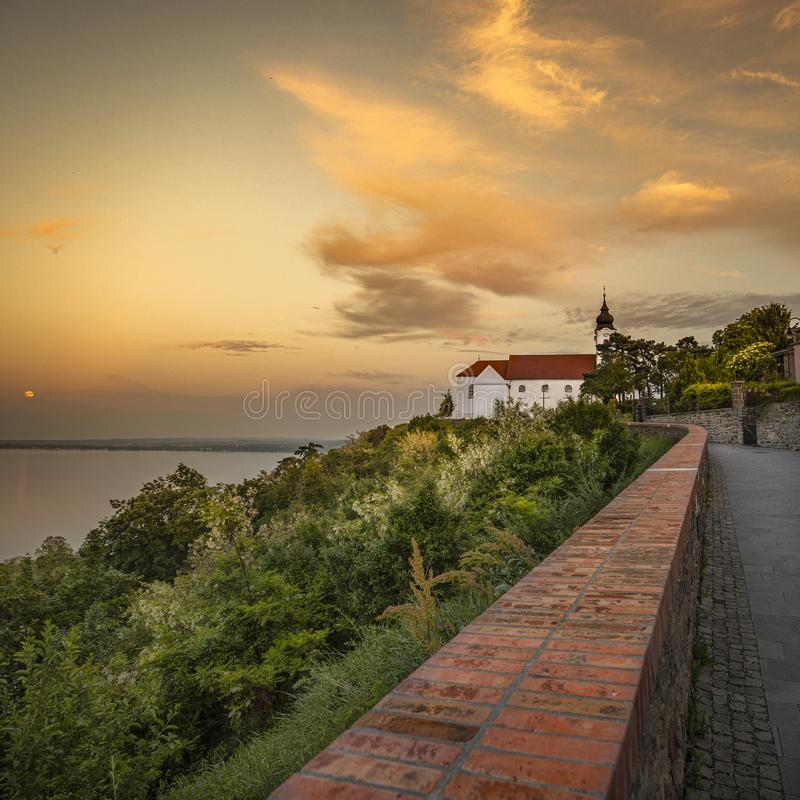 Tihany Abbey at sunset near the lake Balaton stock photo
