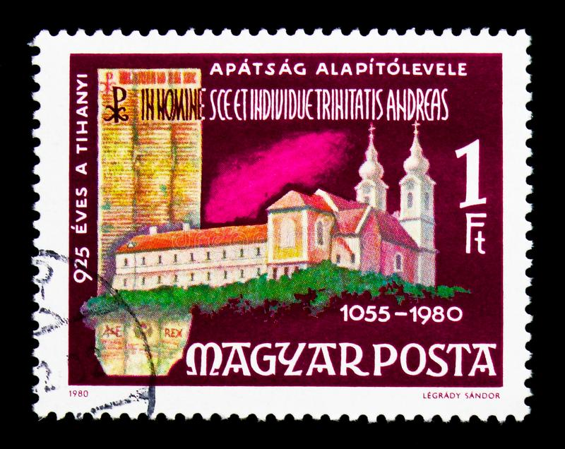 Tihany Benedictine Abbey and Deed, Buildings serie, circa 1980. MOSCOW, RUSSIA - NOVEMBER 25, 2017: A stamp printed in Hungary shows Tihany Benedictine Abbey and stock photo