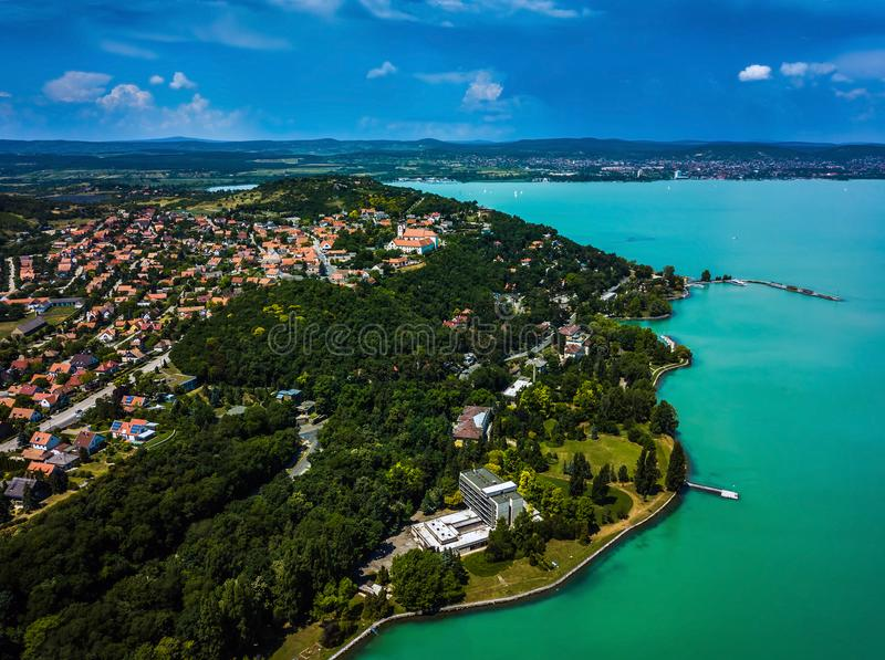Tihany, Hungary - Aerial panoramic view of Lake Balaton with the Benedictine Monastery Tihany Abbey, Tihanyi Apatsag royalty free stock photography