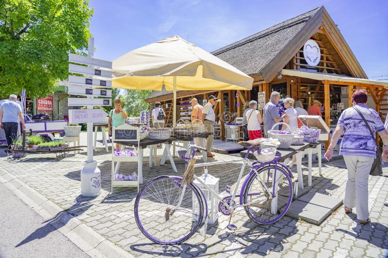 Tihany, Hungary - 25.05.2018: Lavender shops in Tihany Hungary with Tourist any purple bicycle royalty free stock photo